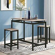 DEEM Ensemble de bar table et chaises en bois de