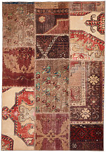 Deladeco - Tapis multicolore patchwork ethnique