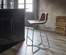 DELIFE Chaise-de-bar Ulrico Marron Cadre vintage