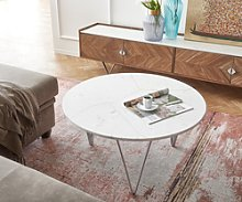 DELIFE Table-basse Luminoso 80x80 cm marbre blanc