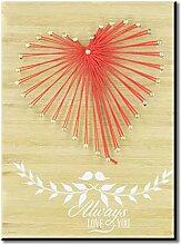 DERCLIVE Amour Coeur String Art à Bord Nouveauté