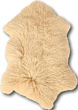 Descente de lit peau d'agneau beige 100x70