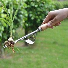 Désherbeur manuel de jardin avec manche en bois,