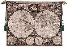 Design Toscano Carte du Monde Broderie Murale,