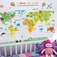 Dessin animé carte du monde Stickers muraux