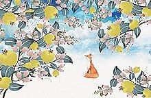 Dessin animé renard arbre fruitier dessiné à la