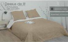 Dessus de lit 240 x 260 cm Arabesque Taupe + 2