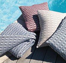 Dessus de lit Biarritz coton peigné motifs zigzag