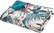Dessus de lit Bleu Canard imprimé Jungle - L.240