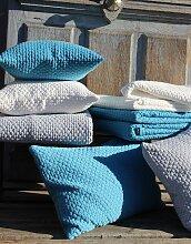 Dessus de lit Brooklyn bleu coton gaufré