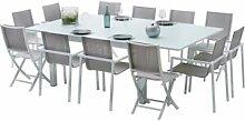 Destock Meubles Salon de jardin aluminium blanc et