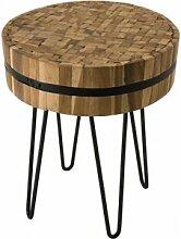 Destock Meubles Table d'appoint ronde teck
