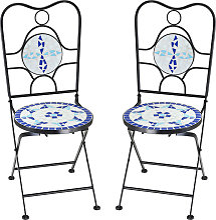 Deuba - Chaise de jardin en mosaïque bleu blanc