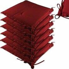 DEUBA - Lot de 6 coussins - Rouge - Chaises /