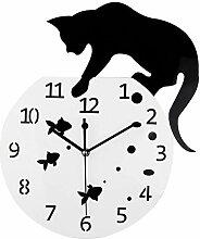 dewdropy Horloge Murale en Acrylique Motif Chat