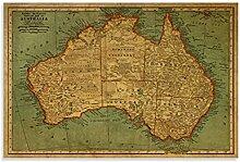DFGDSA Carte du monde vintage de l'Australie