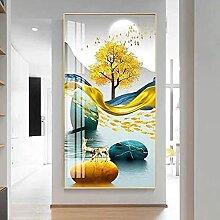 DFRES Abstrait Arbre Peinture Toile cerf Affiche