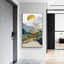 DFRES Arbre Abstrait et cerf peintures sur Toile