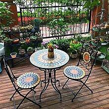 DHYBDZ Table de Bistro Ronde de terrasse, Ensemble