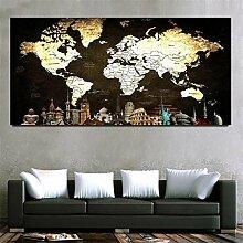 Diamond painting kit complet,Carte du monde Grande