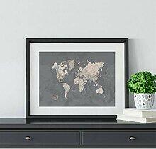 DIARQT Carte du Monde Art Impression Affiche Grise