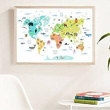 DIARQT Carte du Monde avec des Animaux Sauvages
