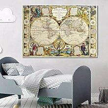 DIARQT Peintures décoratives Vintage rétro Carte