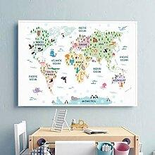 DIARQT Pépinière Carte du Monde Affiche Imprime