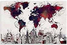 DIDIWEI Poster de la carte du monde Flat Vector -