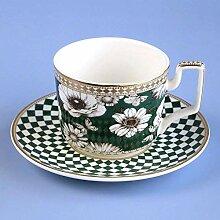 DIHAO Tasse à thé avec Soucoupe 9 oz Vintage