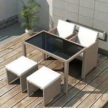 DILWE Salon de jardin encastrable avec coussins 5