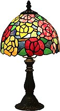 DIMPLEYA Lampe de Table de Style Tiffany Mini Rose