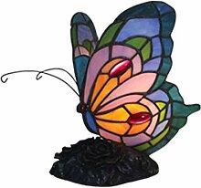 DIMPLEYA Tiffany Style Table Lampe Bleu Papillon