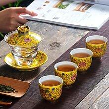 DINGM Gaiwan Bol à thé en Porcelaine décoration
