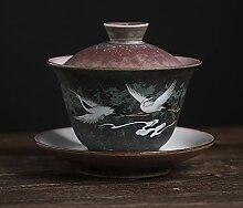 DINGM Thé Kung Fu en céramique Grue créative