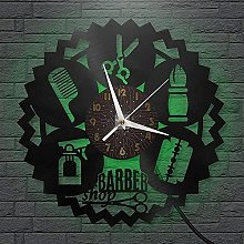 Disque Vinyle Horloge Murale Outils de barbier LED