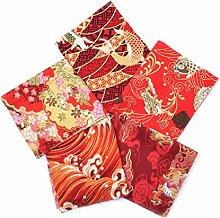 DIY 5pcs 20x25cm Japonais Tissu de tissu de coton