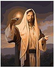 DIY Peinture par Numéro Jésus Paume la Lampe