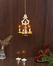 Diya Lampe à suspendre en laiton pour Puja –