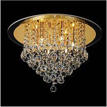Diyas - Plafonnier Atla 6 Ampoules doré/cristal