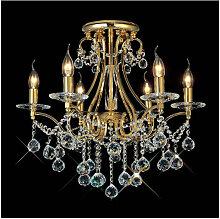 Diyas - Plafonnier Bianco 6 Ampoules doré/cristal