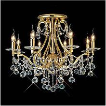 Diyas - Plafonnier Bianco 8 Ampoules doré/cristal