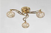 Diyas - Plafonnier Leimo 3 Ampoules doré/cristal