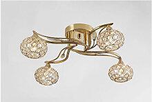 Diyas - Plafonnier Leimo 4 Ampoules doré/cristal