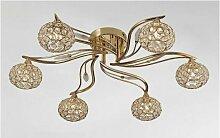 Diyas - Plafonnier Leimo 6 Ampoules doré/cristal