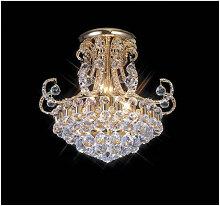 Diyas - Plafonnier Pearl 9 Ampoules doré/cristal