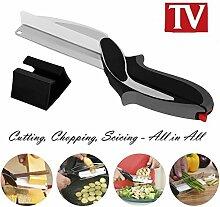 Dlife Clever Cutter 2 en 1 Ciseaux et Couteau