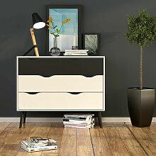 Dmora Commode à quatre tiroirs, couleur blanche