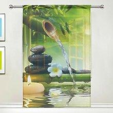 DOSHINE Rideau transparent - Motif fleurs zen