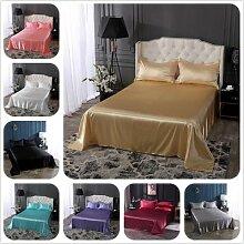 Drap de lit plat en satin de soie, couvre-lit de